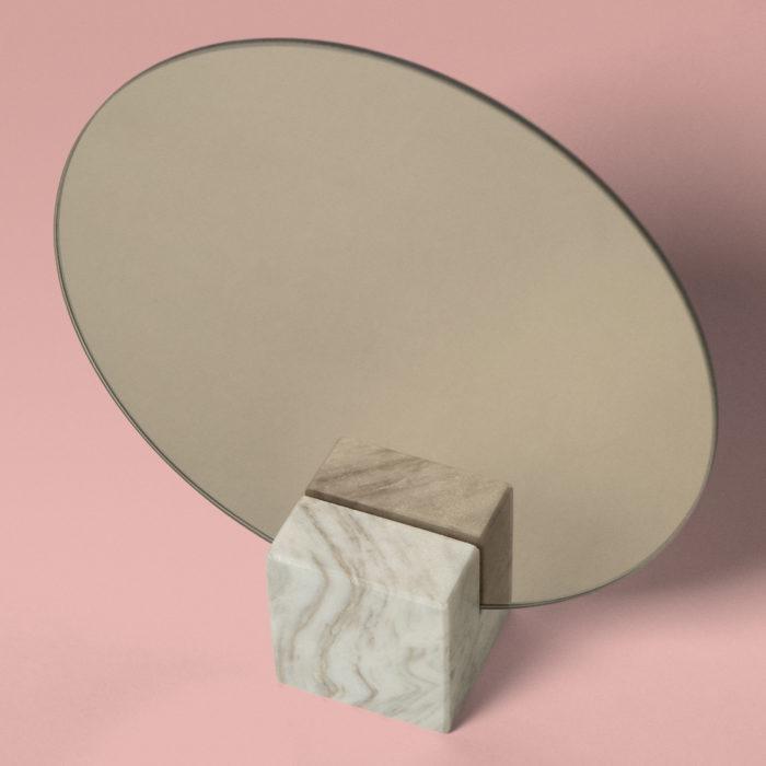 Miroir carré marbre gris