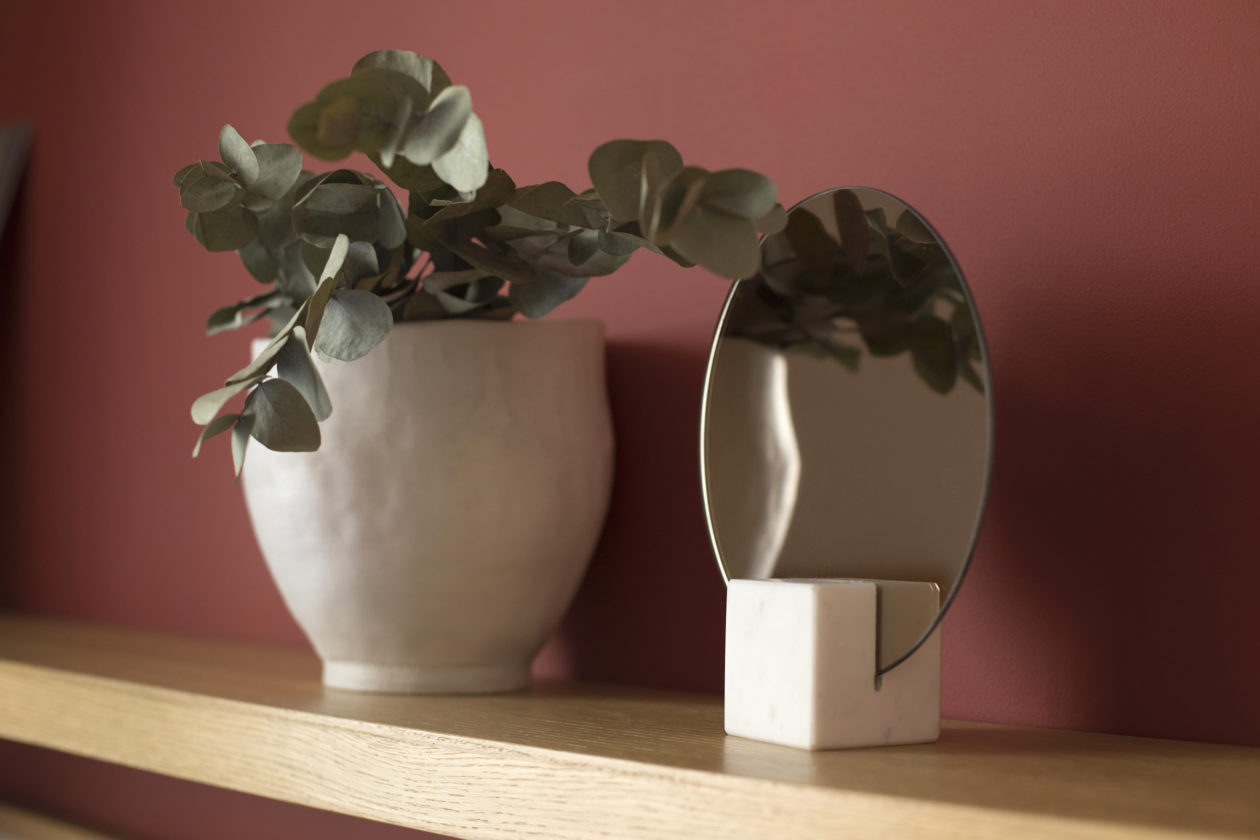 Miroir marbre carré blanc