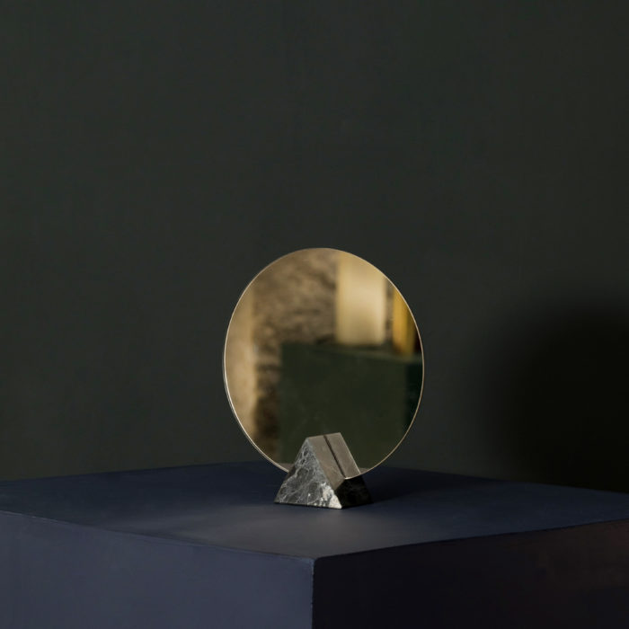miroir marbre triangle noir